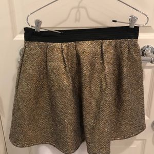 Gold sparkly skirt with leather waist trim